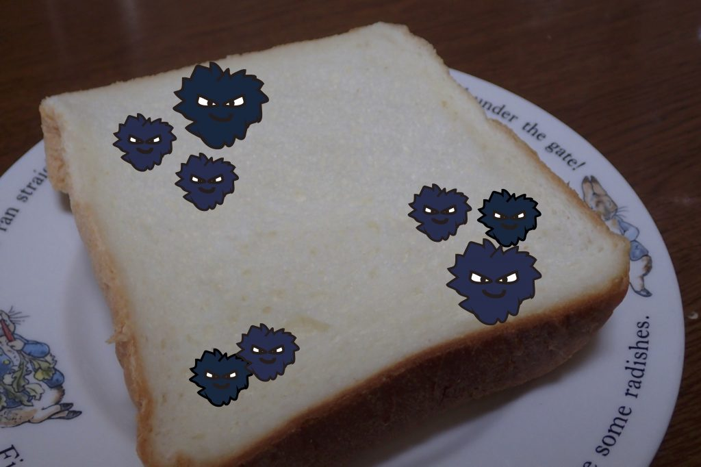 カビの生えたパンのイラスト